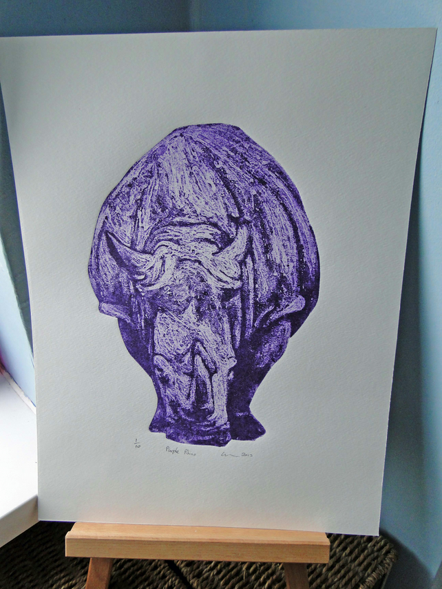 Purple Rhino Limited Edition Collagraph Print