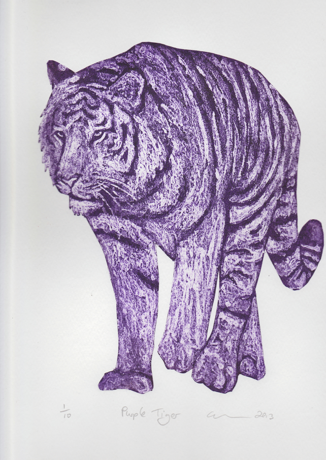 Purple Tiger Limited Edition Collagraph Print Cat