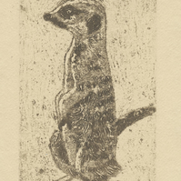 Meerkat Collagraph Limited Edition Hand Pulled Print