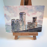 ACEO Art Castle Turrets Original Watercolour & Ink Painting OOAK
