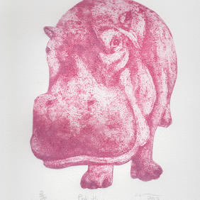 Pink Hippo Limited Edition Collagraph Print