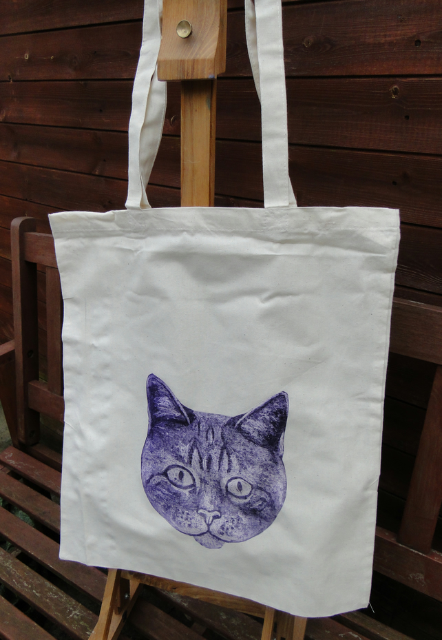 Purple Big Eyed Cat Collagraph Hand Printed Cream Tote Shopping Bag