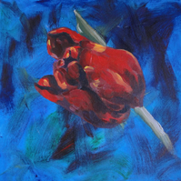 Red Tulip Flower Original Acrylic Painting on Box Canvas OOAK