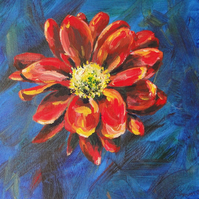 Red Flower Original Acrylic Painting on Box Canvas OOAK