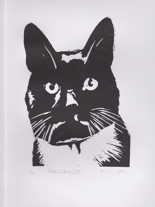 Black & White Cat Limited Edition Hand-Pulled Linocut Print