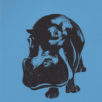 Hippo Open Edition Hand-Pulled Linocut Print Blue