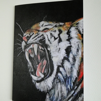 Tiger Roar Blank Greeting Card From my Original Acrylic Art Painting