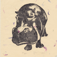 Hippo Open Edition Hand-Pulled Linocut Print Cream Flower