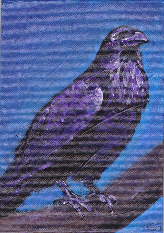 Raven Perch Original Acrylic Painting on Canvas Board OOAK animal Bird Art