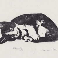 Kitten Play Limited Edition Hand-Pulled Linocut Print Cat