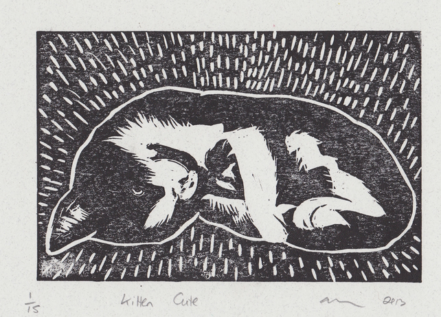 Kitten Cute Limited Edition Hand-Pulled Linocut Print Cat