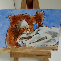 ACEO Art Card Orangutan Boo! Original Watercolour and Ink Painting