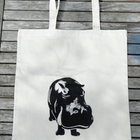 Hippo Linocut Hand Printed Cream Tote Shopping Bag