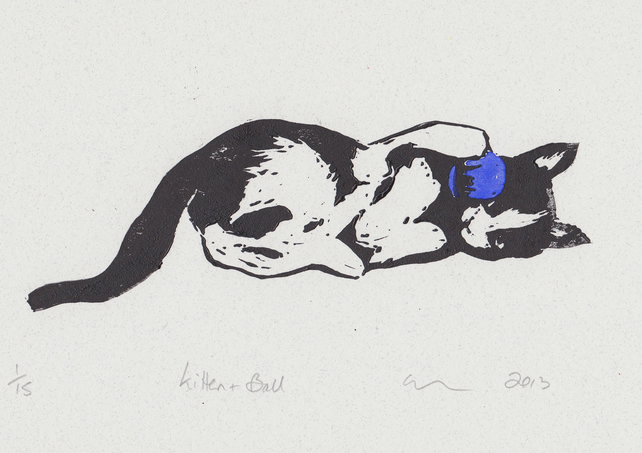 Kitten & Ball Limited Edition Hand-Pulled Linocut Print Cat