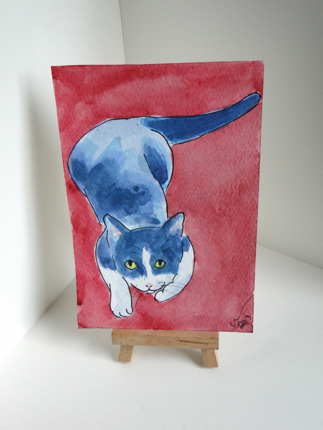Cat Art Play With Me! Original Animal Watercolour Painting OOAK OSWOA