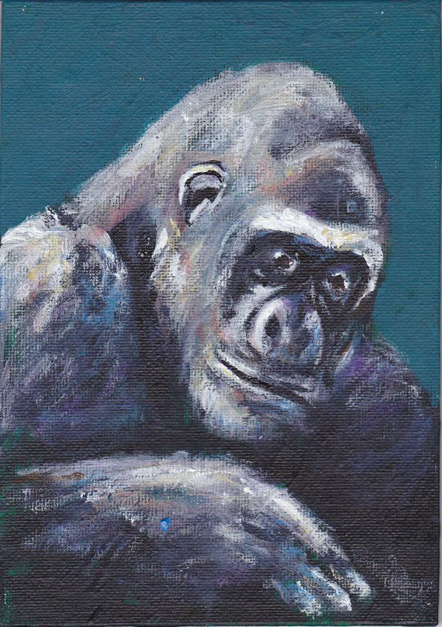 Animal Art Gorilla Calm Original Acrylic Painting on Canvas Board OOAK