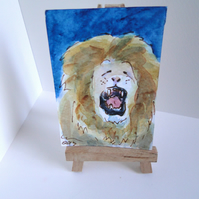 ACEO Animal Art Lion Yawn Original Watercolour and Ink Painting OOAK Cat