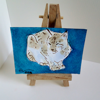 ACEO Animal Art Lynx Sit Original Watercolour and Ink Painting OOAK Cat