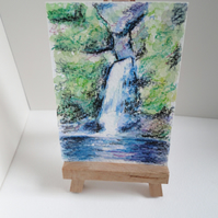 ACEO Art Waterfall Original Watercolour Painting OOAK