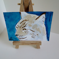 ACEO Animal Art Lynx Look Original Watercolour and Ink Painting OOAK Cat