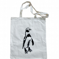 Tote Bag Penguin Animal Linocut Hand Printed Cream Shopping Bag
