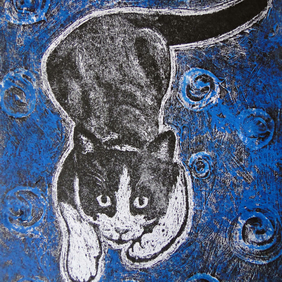 Play With Me! Limited Edition Original Collagraph Print Art Cat