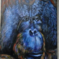 Animal Art Male Orangutan Original Acrylic Painting on Canvas OOAK