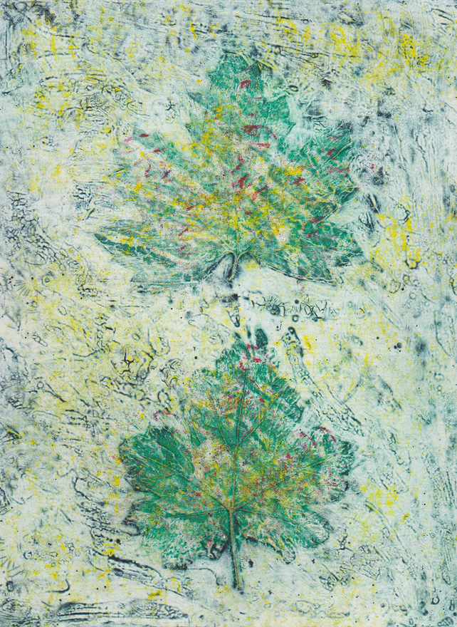 Two Leaves One Off Hand Pulled Collagraph Print