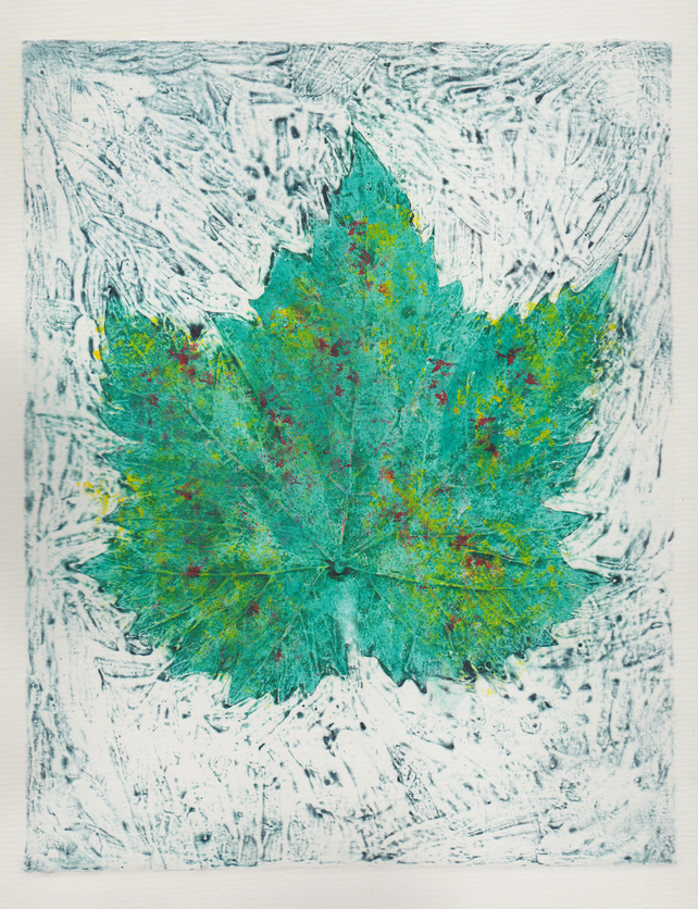 Jagged Leaf One Off Hand Pulled Collagraph Print