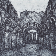 Buildwas Abbey Limited Edition Hand Pulled Collagraph Print Shropshire