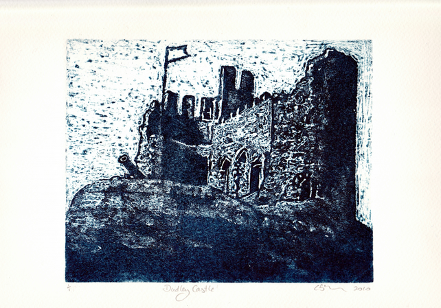 Dudley Castle One Off Hand Pulled Collagraph Print