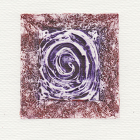 Red Swirl One Off Hand Pulled Collagraph Print