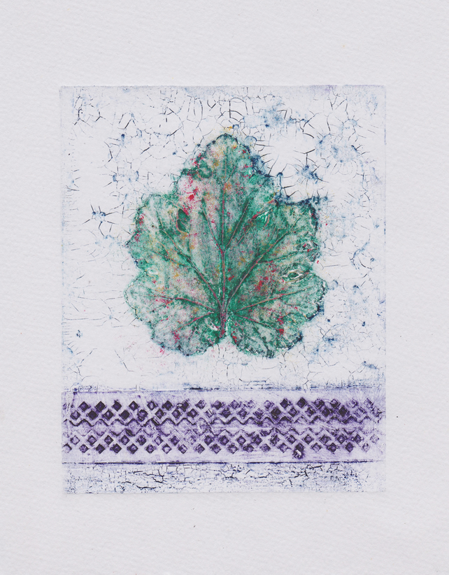 Crackle Leaf Green One-Off Collagraph Print