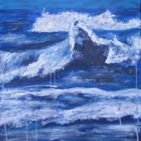 Waves Original Acrylic Painting on Canvas Art OOAK