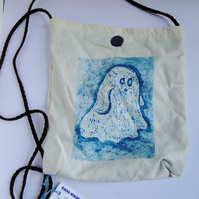 Sale Halloween Ghost Hand Printed Collagraph Print Cream Shoulder Bag Purse