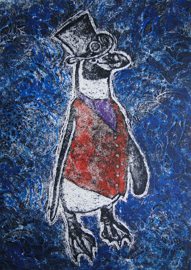 Steampunk Penguin Limited Edition Original Collagraph Print Art