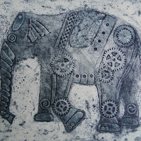 Steampunk Elephant Limited Edition Original Collagraph Print Art