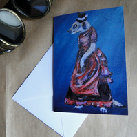 Steampunk Meerkat Greeting Card From my Original Art Acrylic Painting