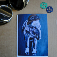 Steampunk Elephant Greeting Card From my Original Art Acrylic Painting