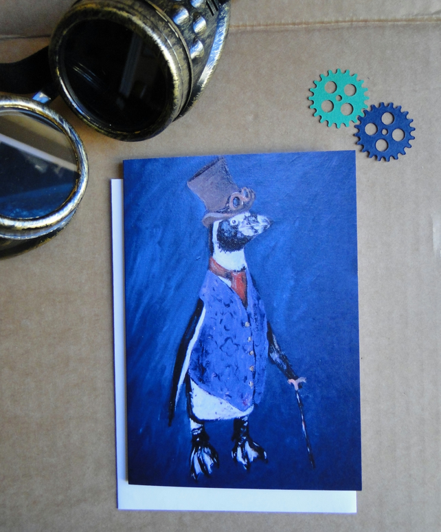 Steampunk Penguin Greeting Card From my Original Art Acrylic Painting