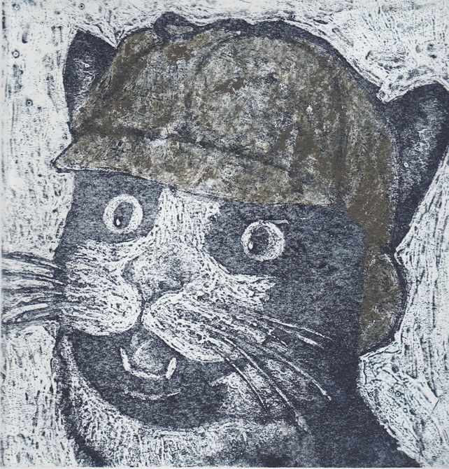 Sherlock Kitty Limited Edition Hand-Pulled Collagraph Print Animal