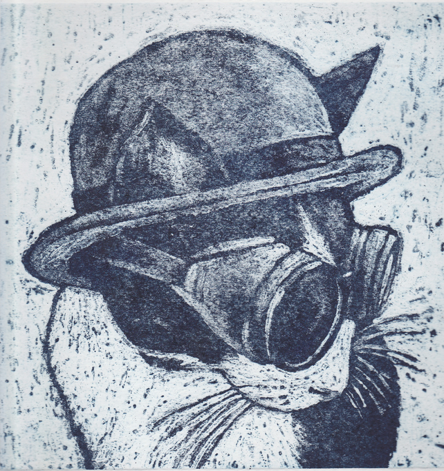 Steampunk Kitty Limited Edition Hand-Pulled Collagraph Print Animal Cat