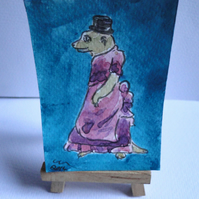 ACEO Steampunk Meerkat Original Watercolour & Ink Painting OOAK