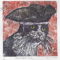 Captain Jack Kitty Cat Art Limited Edition Hand-Pulled Collagraph Print Coloured