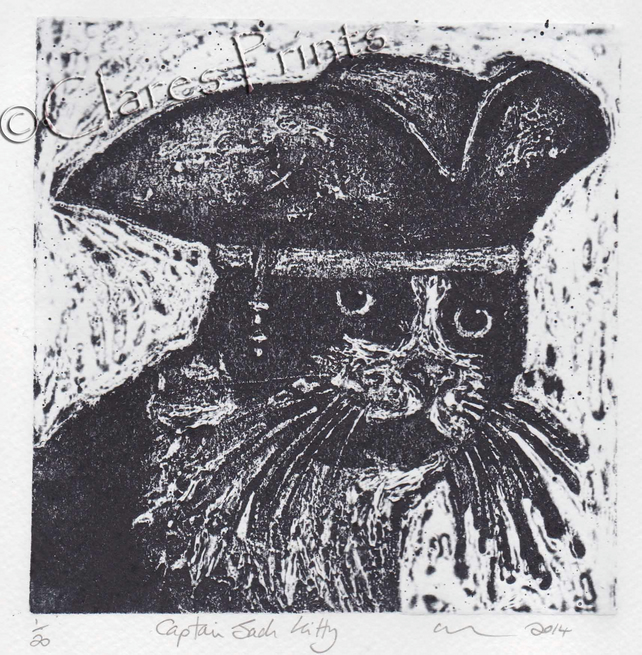 Captain Jack Kitty Cat Art Limited Edition Hand-Pulled Collagraph Print