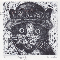 Happy Kitty Cat Art Limited Edition Hand-Pulled Collagraph Print