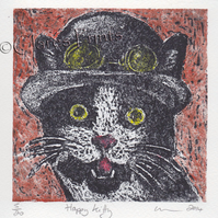 Happy Kitty Cat Art Limited Edition Hand-Pulled Collagraph Print Coloured