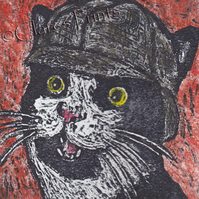 Sherlock Kitty Cat Art Limited Edition Hand-Pulled Collagraph Print Coloured