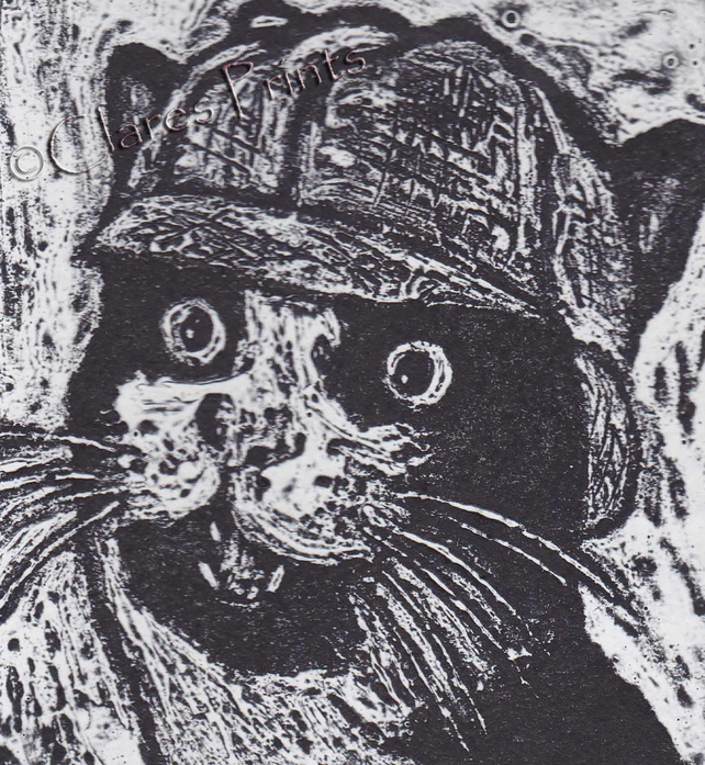 Sherlock Kitty Cat Art Limited Edition Hand-Pulled Collagraph Print
