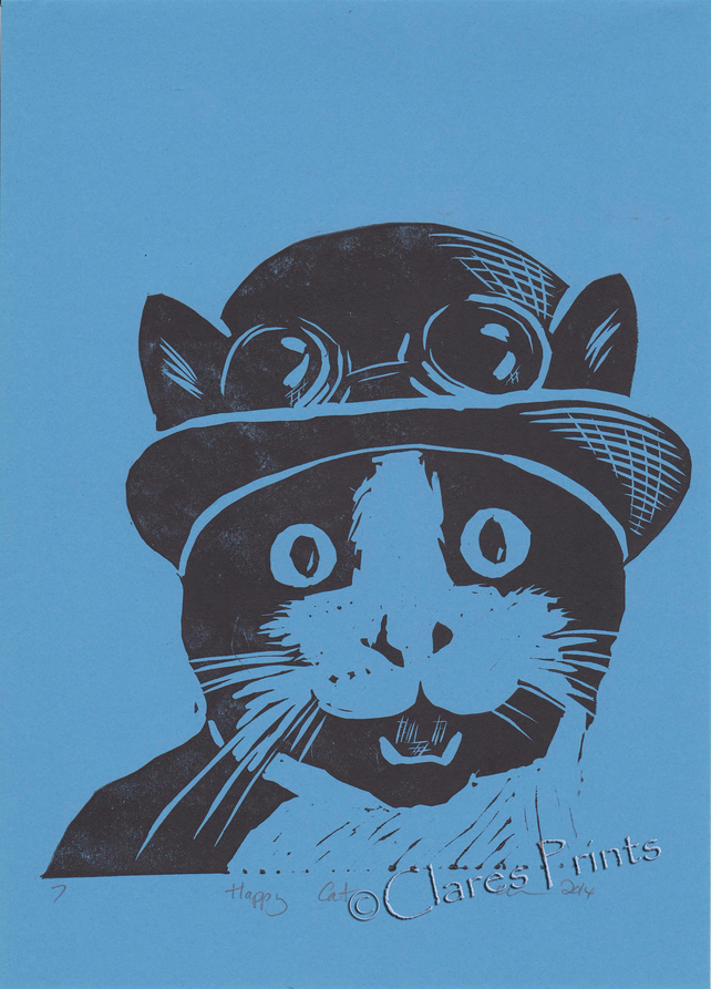 Happy Cat Open Edition Hand-Pulled Linocut Print